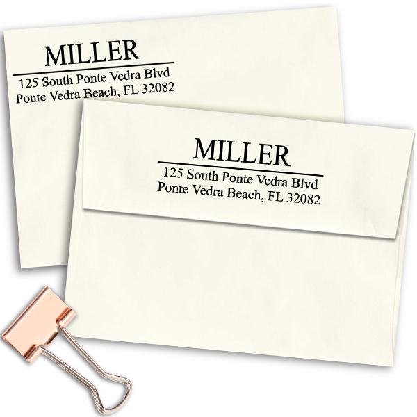 Last Name Address Stamp on envelopes
