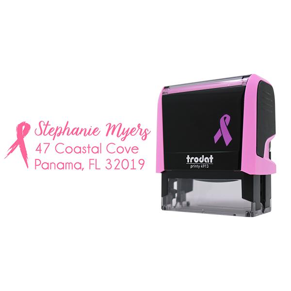 Pink Brush Ribbon Address Stamp with Body