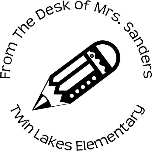 Desk of Teacher custom rubber stamp