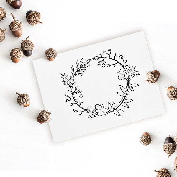 Autumn Wreath Craft Stamp Imprint Example