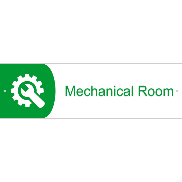 "Mechanical Room Icon Acrylic Print Sign - 3"" x 10"""