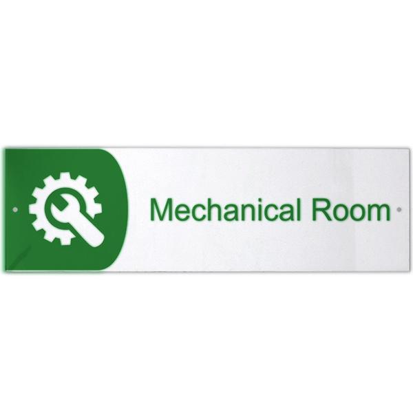 "Mechanical Room Icon Acrylic Print Sign   3"" x 10"""
