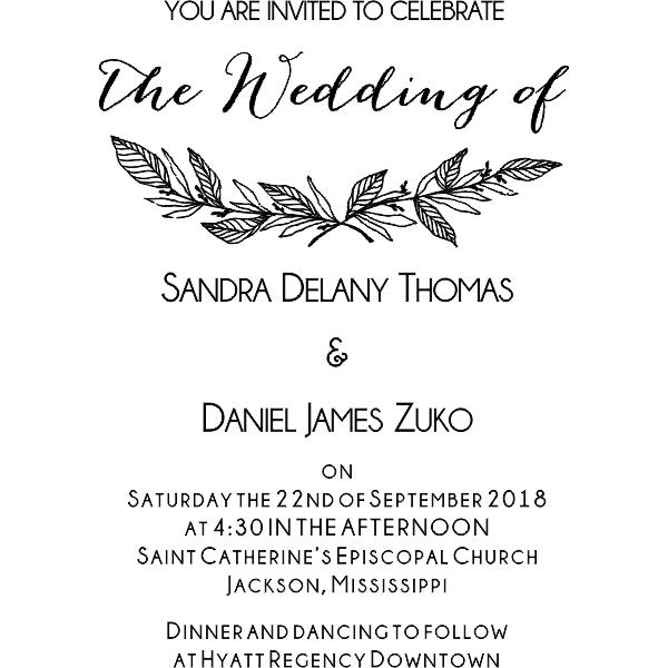 Formal Laurel Wedding Invitation Stamp