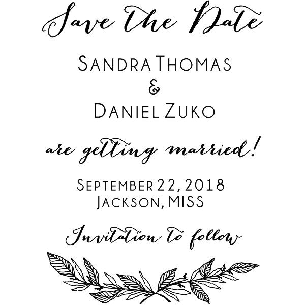Formal Laurel Wedding Save the Date Stamp