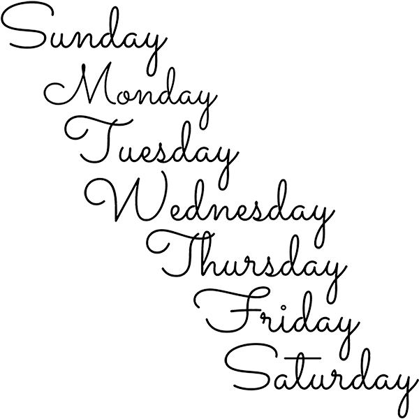 Days of the Week Stamp Set Imprint Examples