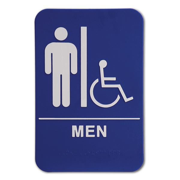 Blue ADA Braille Men's Restroom Sign - Handicap