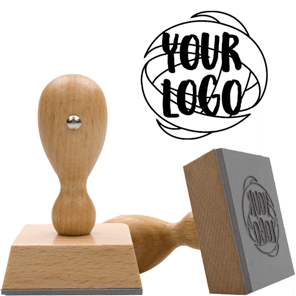 Square & Round Logo Stamp | Medium Wood Handle Hand Stamp