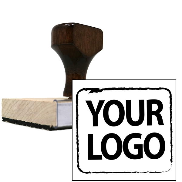 Square & Round Logo Stamp | Large Wood Handle Hand Stamp