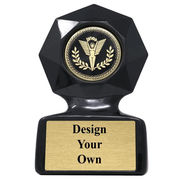 Large Black Star Sculpted Victory Trophy Award