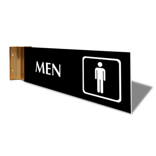 "Men's Room Icon Corridor Sign | 4"" x 12"""