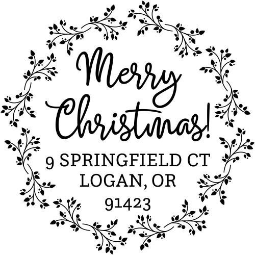 Christmas Wreath Round Return Address Stamp