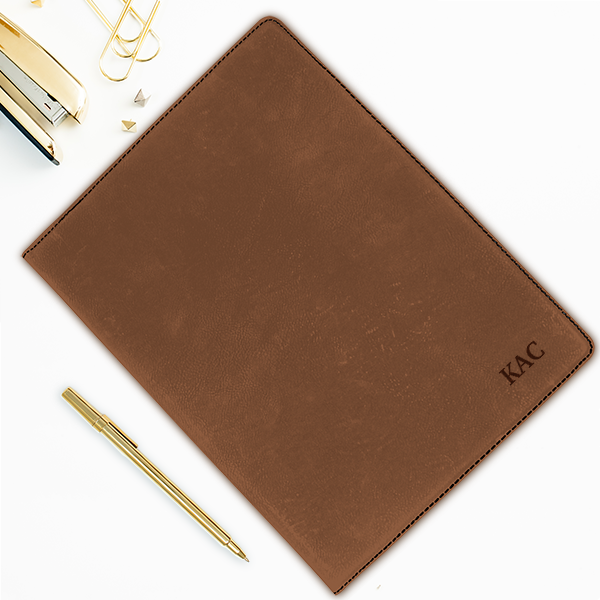 Custom Initials Small Leatherette Folio Example