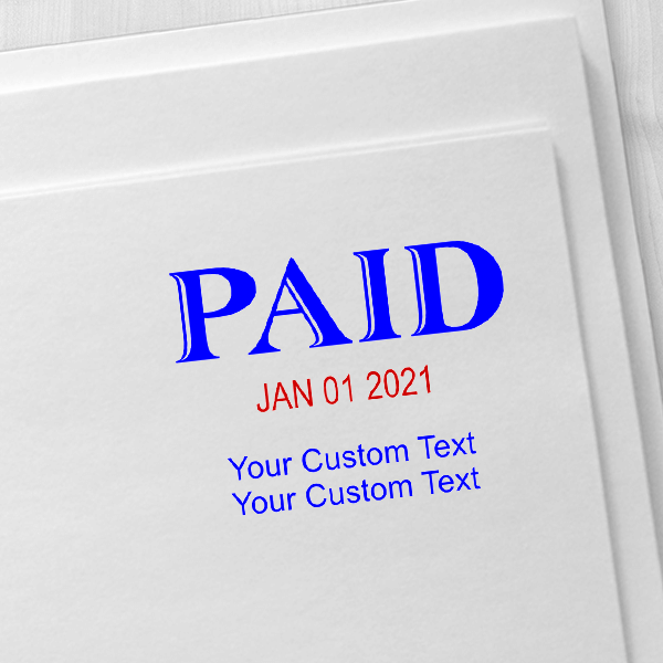 Trodat Professional Paid Dater With Custom Text Below Imprint Example
