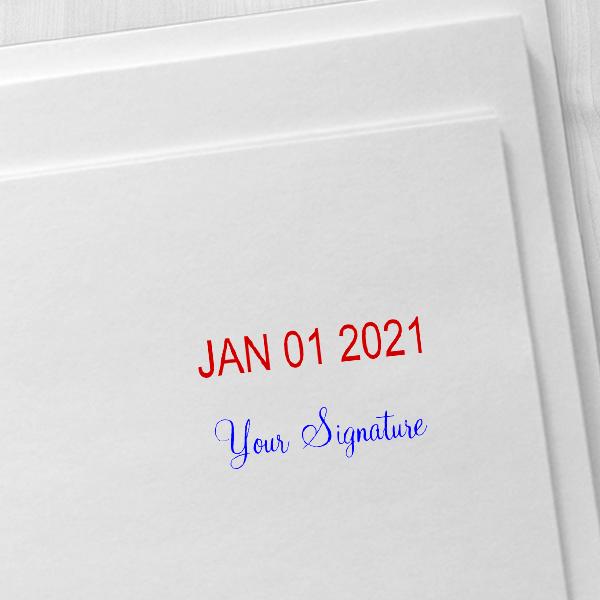 Trodat Professional Custom Signature Below Date Dater Stamp Imprint Example