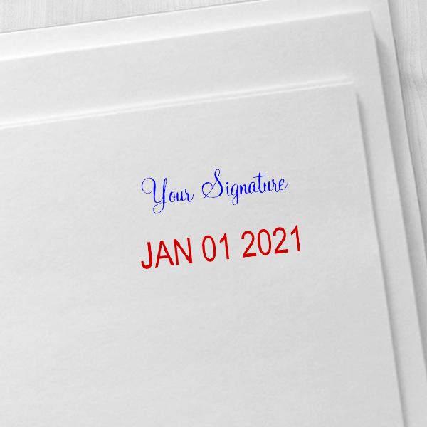 Trodat Professional Custom Signature Above Date Dater Stamp Imprint Example