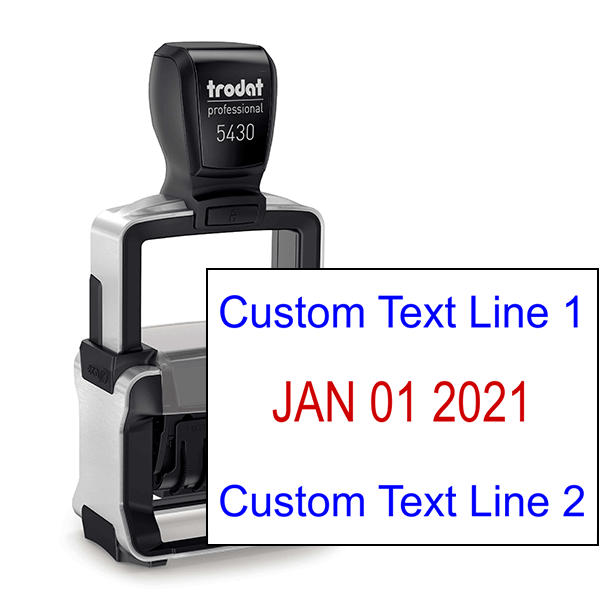 Trodat Professional Top and Bottom Line Custom Dater Stamp