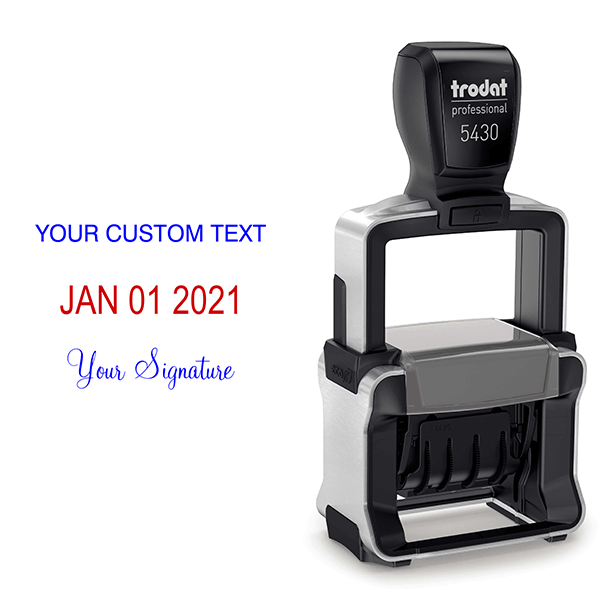 Trodat Professional Custom Text With Your Signature Bottom Stamp Body and Design