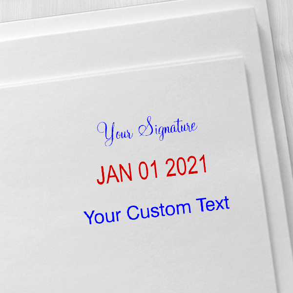 Trodat Professional Custom Text With Your Signature Top Stamp Imprint Example