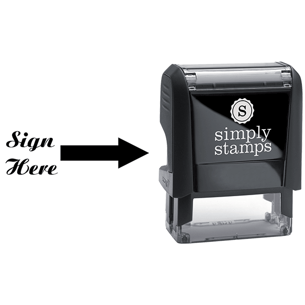 Sign Here Script Font Self Inking Stamp Body and Design