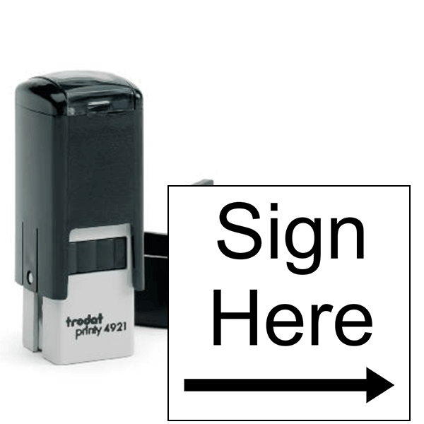 Sign Here Right Arrow Self Inking Stamp