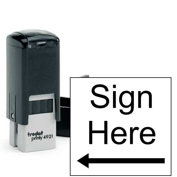 Sign Here Left Arrow Self Inking Stamp
