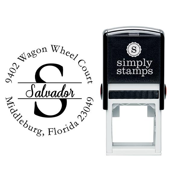 Salvador Round Name Return Address Stamp Body and Design