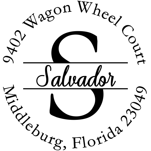 Salvador Round Name Return Address Stamp