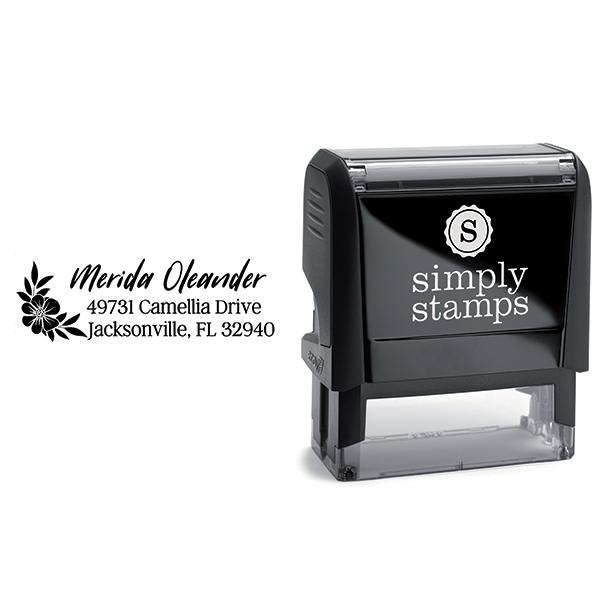 Oleander Floral Address Stamp Body and Design