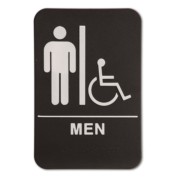 Black Men's Handicap ADA Braille Restroom Sign