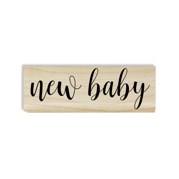 New Baby Cursive Craft Stamp Body and Design