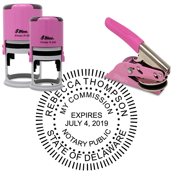 Delaware Notary Pink - Round Design