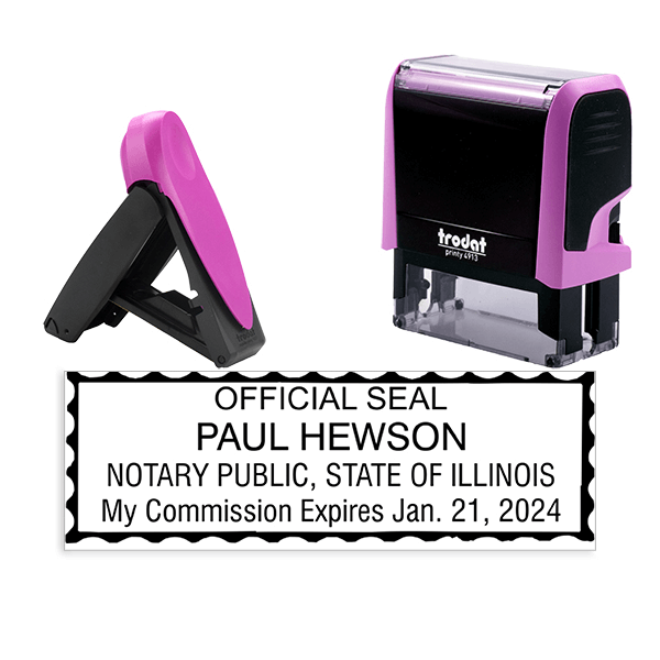 Illinois Notary Pink Stamp - Rectangle