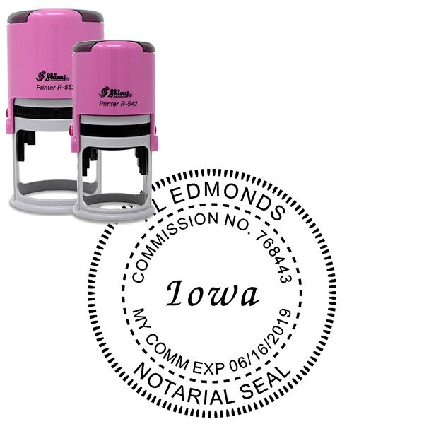 Iowa Notary Pink - Round Design