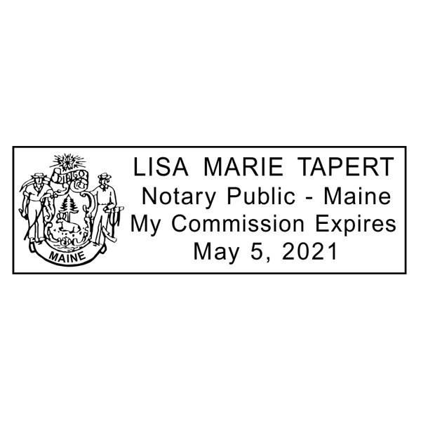 Maine Notary Pink Stamp - Rectangle Imprint Example