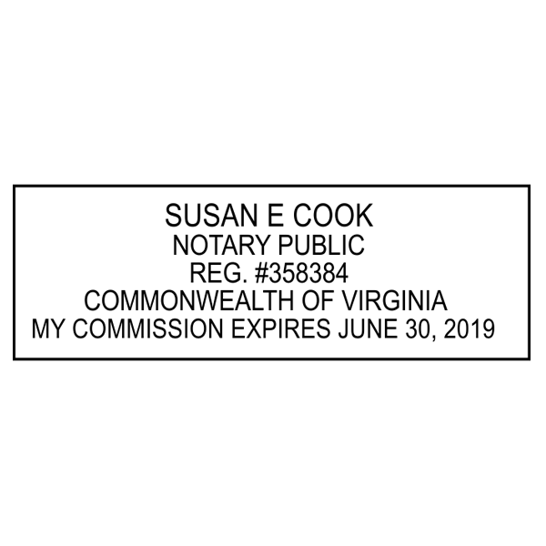 Virginia Notary Pink Stamp - Rectangle Imprint Example