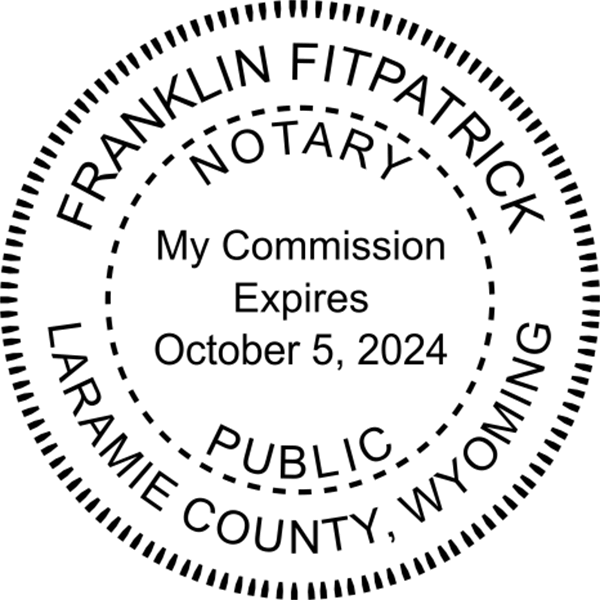 Wyoming Notary Pink - Round Design Imprint Example