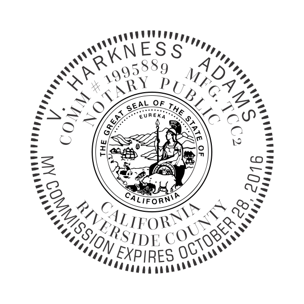 California Notary Round Design Imprint Example