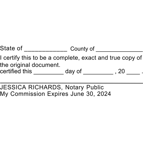 Certified True Copy Stamp for Notary Use Imprint Example