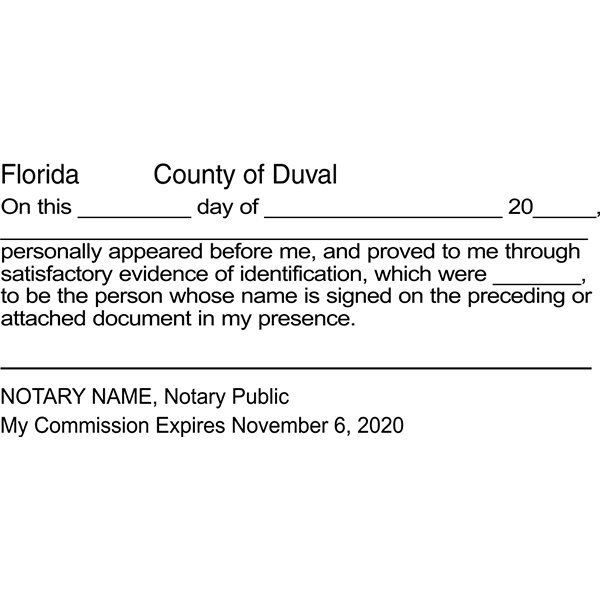 Florida Signature Witness Notary Stamp Imprint Example