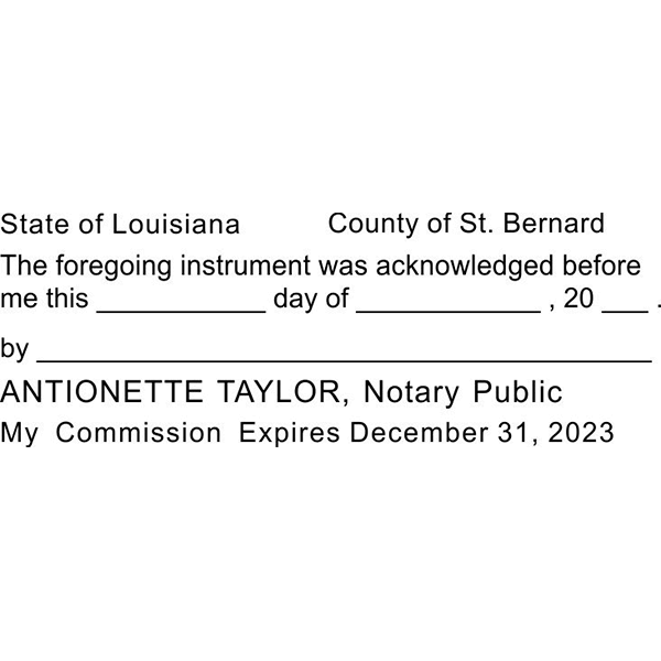 Louisiana Acknowledgment Notary Stamp Imprint Example