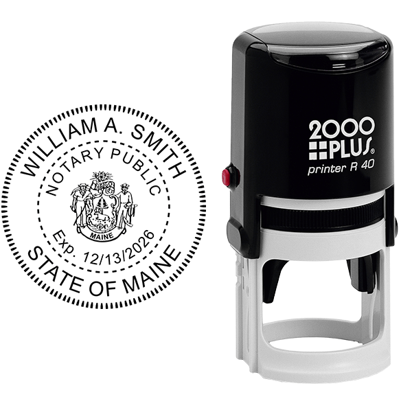 Maine Notary Stamp Round with CREST Body and Design