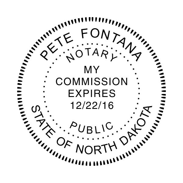 North Dakota Notary Stamp - Round Imprint Example