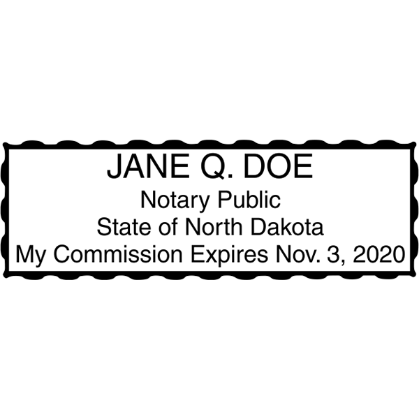 North Dakota Notary Stamp - Rectangular Imprint Example
