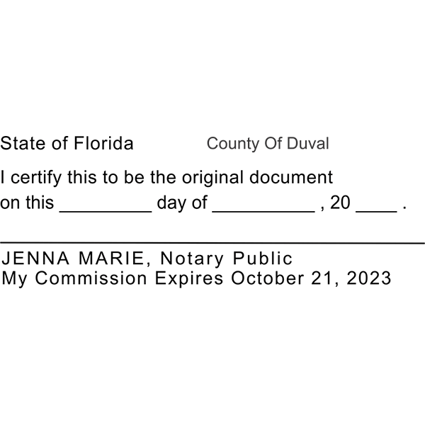 Original Document Notary Stamp Imprint Example