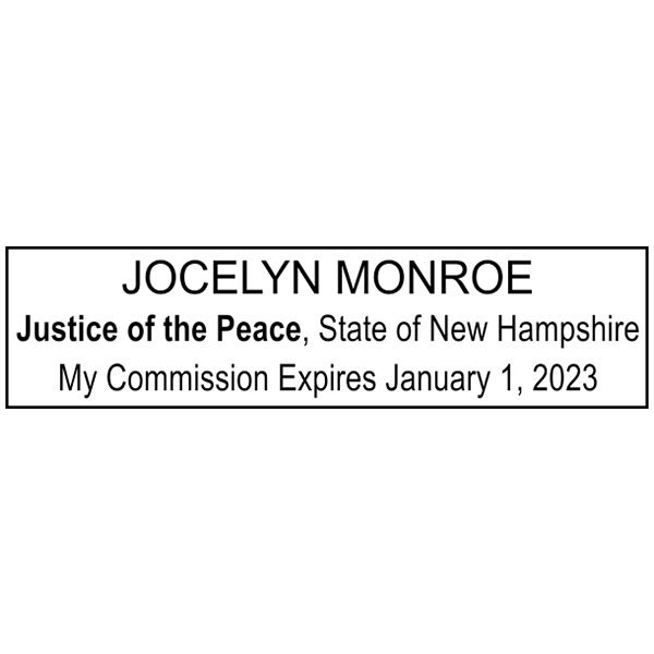 New Hampshire Justice of Peace Stamp Imprint Example