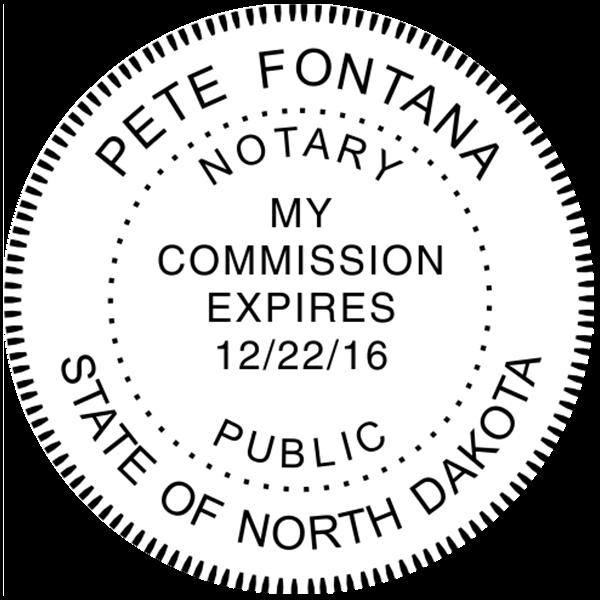 North Dakota Notary Stamp Pink - Round Design Imprint Example