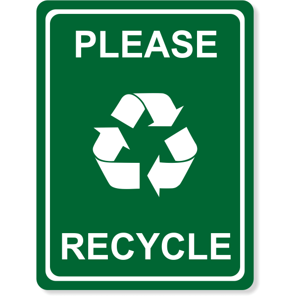 "Engraved Please Recycle Sign | 8"" x 6"""