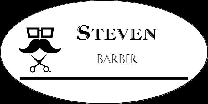 Barber Shop 2 Line Oval Hair Salon Name Tag