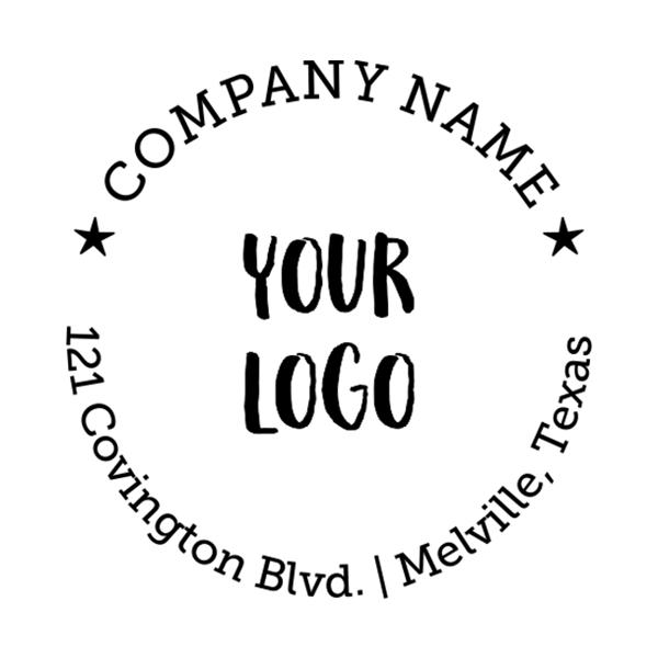 Round Logo Stamp with Custom Text Imprint