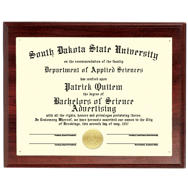 9X12 CHERRY FINISH CERTIFICATE PLAQUE - CFP912CERT